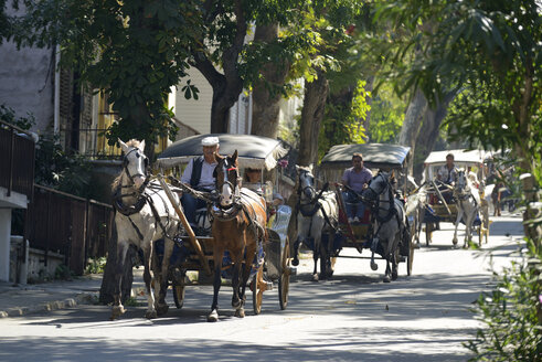 Turkey, Istanbul, Horse-drawn carriages on Buyukada - LH000290