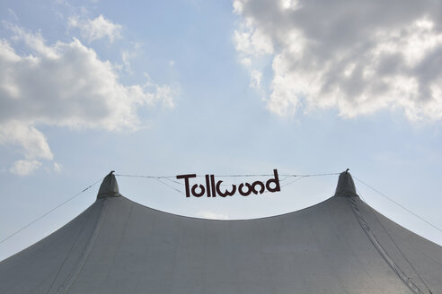 Germany, Bavaria, Munich, logo of tollwood festival over a tent - AX000511