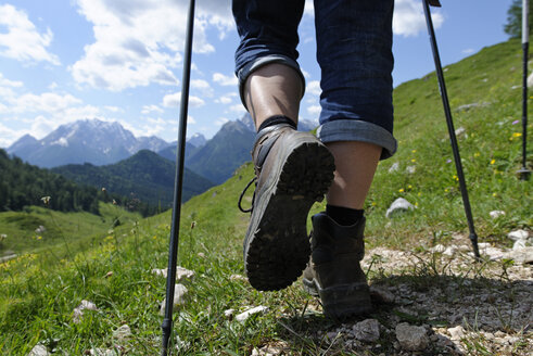 Germany, Bavaria, Hikers on Ramsau mountain pasture experience path - LB000368