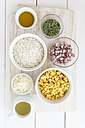 Ingredients of Australian sweetcorn risotto on white wooden table, studio shot, studio - EVGF000248