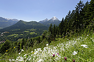Germany, Bavaria, Berchtesgaden Alps, near by Ramsau, View to Watzmann and Hochkalter - LB000384
