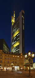 Germany, Hesse, Frankfurt, view to Commerzbank tower by night - AMF000975