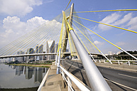 Brazil, Sao Paulo, district Morumbi, skyscrapers, Financial center, bridge Octavio Frias de Oliveira - FLKF000156