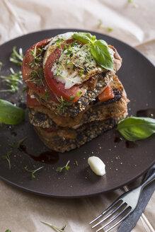 Bruschetta, tomatoe, mozzarella, wholemeal bread and garlic creme on plate - STB000110