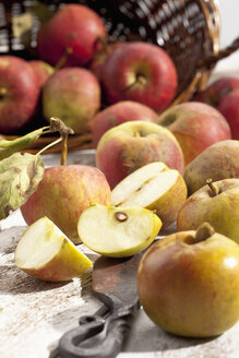 Organic apples (Malus), basket and a knife on white wooden table, studio shot - CSF020298