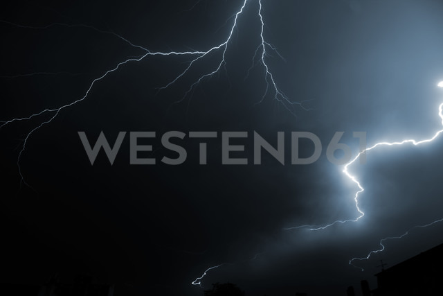 Germany, Offenbach, Lightning at night - TLF000736