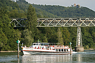 Switzerland, Schaffhausen, Lake Constance, Tourist boat in Stein am Rhein - SH000863