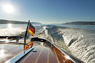 Germany, Baden-Wurttenberg, Wallhausen, Detail of wooden motorboat on Lake Constance - SH000911