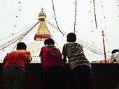 Nepal, Kathmandu, Bodnath, Stupa sanctuary with prayer flags - MBE000813