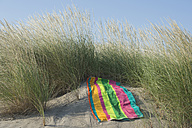 Italy, Adriatic, beach towel on sand dune with grass - CRF002508