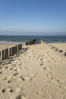 Netherlands, Holland, Zeeland district, Domburg, wooden stakes on the beach - MYF000060