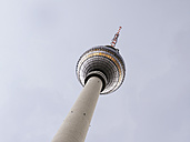 Germany, Berlin, worms eye view of TV tower at Alexanderplatz - BSCF000388