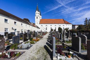Germany, Bavaria, Muehldorf, Gars am Inn, view to parish church of the Assumption of the Virgin Mary - AM001061