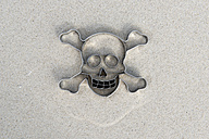Skull shaped cookie cutter on sand - AWDF000708