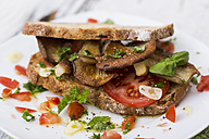 Slices of bread with fried oystermuhrooms and tomatoes - STB000138