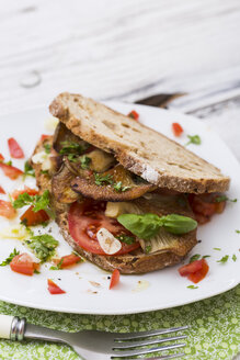 Slices of bread with fried oystermuhrooms and tomatoes - STB000137
