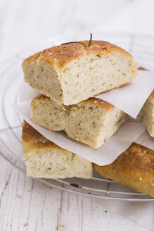 Italian focaccia, yeast bread with rosmary and sea salt - STB000134