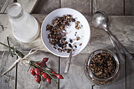 Bowl with granola made of baked oats, nuts and raisins, bottle of milk and rose hips on wooden board - SBDF000338