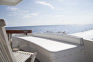 Italy, Sardinia, Chair on yacht deck - PDF000581