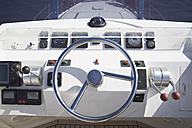 Italy, Sardinia, Steering wheel of luxury yacht - PDF000578