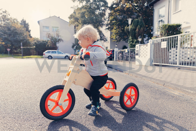 Germany, Bonn, Little boy with wood tricycle - MFF000613