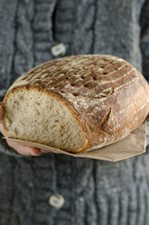 Hands holding mixed wheat and rye bread, close-up - ODF000667