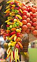 Spain, Balearic Islands, Majorca, Palma, vegetable market, tomatoes and paprikas - HL000282