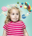 Little girl with flying candies around her head, Composite - STKF000492