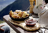 Austria, Tyrol, Karwendel mountains, Kaiserschmarrn with fruit sauce - TKF000216