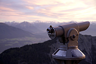 Austria, Tryrol, View of Alps with telescope in foreground - TKF000218