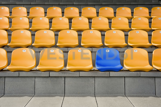 Germany, Bavaria, Empty stadium seats - RNF001292