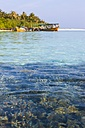 Maledives, South-Male-Atoll, Embudu, boats in front of the island - AMF001203