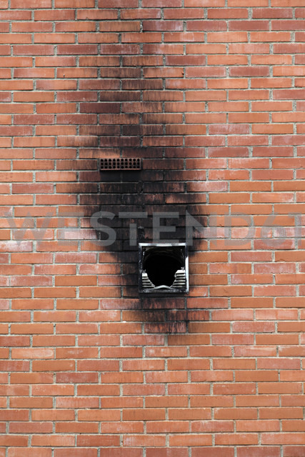 Spain, Burnt window in brick wall - JMF000249