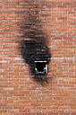 Spain, Burnt window in brick wall - JMF000249