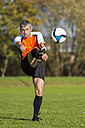 Soccer player kicking ball - STSF000218