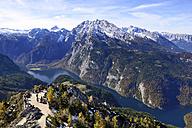Germany, Bavaria, Upper Bavaria, Berchtesgadener Land, view to Koenigssee, St. Bartholomaeu and Watzmann, Berchtesgaden National Park - LH000311