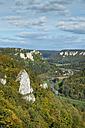 Germany, Baden Wuerttemberg, Sigmaringen, View from Eichfelsen of Upper Danube Valley - ELF000629
