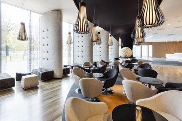 Poland, Warsaw, lounge at hotel - MLF000191
