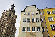 Germany, North Rine-Westphalia, Cologne, view to city hall tower and houese facades - JAT000502
