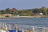 Turkey, Side, Crowded beach and amphitheater - SIE004705