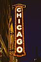 USA, Illinois, Chicago, The Chigaco Theatre at night - MBE000881