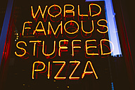 USA, Illinois, Chicago, neon advertising for world famous stuffed pizza - MBE000880