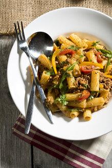Tortiglioni with mincemeat, paprika, tomato, and rucola - MAEF007432