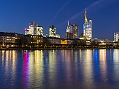 Germany, Hesse, Frankfurt, view to skyline with financal district at dusk - AMF001308