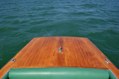 Germany, Bavaria, Tegernsee, back of wooden electro boat - AXF000583
