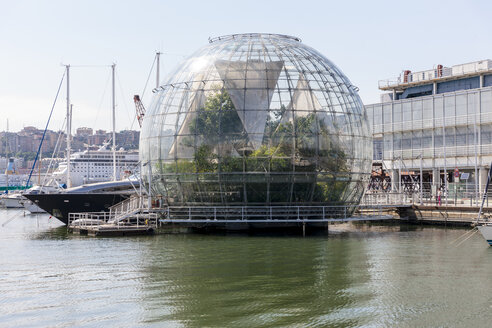 Italy, Genoa, Glass sphere La Biosfera at Porto Antico - AM001357