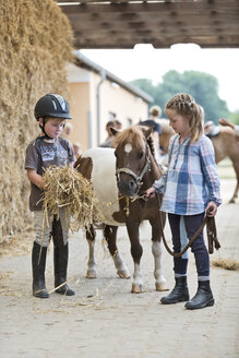 Germany, NRW, Korchenbroich, Boy and Girl at riding stable with mini shetland pony - CLPF000013