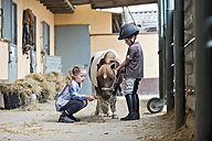 Germany, NRW, Korchenbroich, Boy and Girl at riding stable with mini shetland pony - CLPF000011