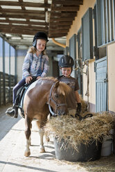 Germany, NRW, Korchenbroich, Boy and Girl at riding stable with mini shetland pony - CLPF000009
