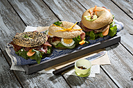 Three different bagels garnished with salami, sausage, slices of bacon, rocket salad, lettuce, cucumber carrot, egg, cream cheese and cress and parsley - MAEF007484